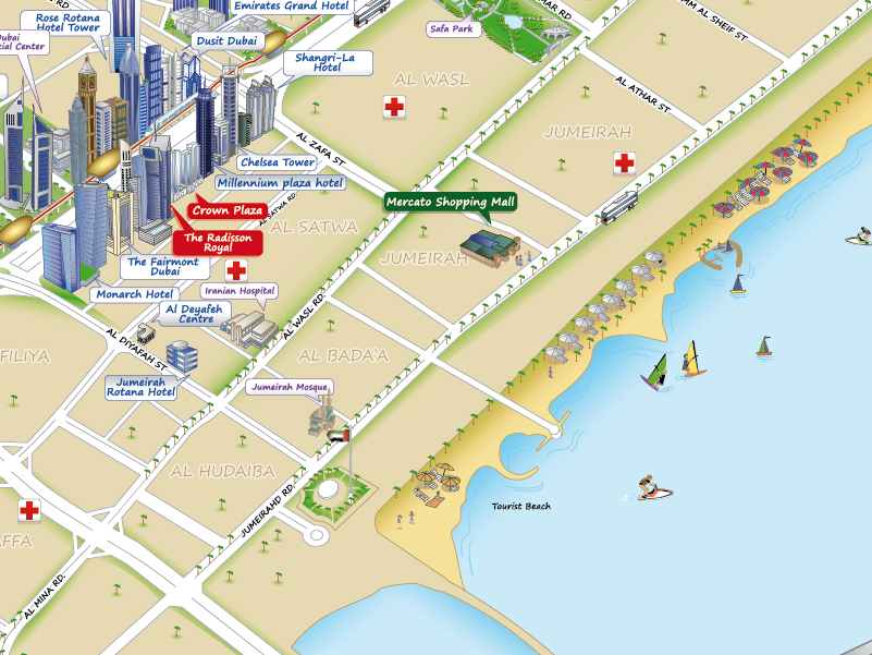 An informative and easy to use 3d map of dubai with your for Map of dubai hotels